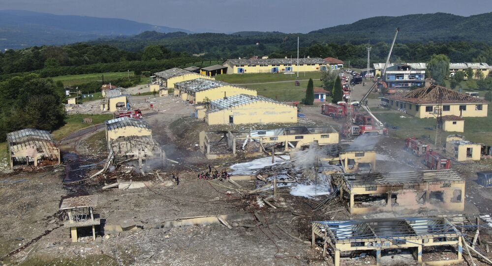 A view of destroyed buildings at a fireworks factory following a fire after an explosion outside the town of Hendek, Sakarya province, northwestern Turkey, Friday, July 3, 2020. There were an estimated 150 workers at the factory, Gov. Cetin Oktay Kaldirim told state-run Anadolu Agency. Several firefighters and ambulances were sent to the factory, which is away from residential areas. However, explosions were continuing, hampering efforts to bring the fire under control.The cause of the blast wasn't immediately known.