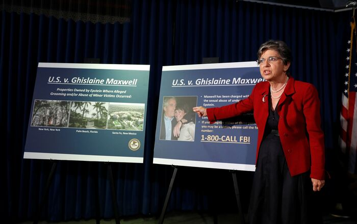 Audrey Strauss, Acting United States Attorney for the Southern District of New York speaks at a news conference announcing charges against Ghislaine Maxwell for her role in the sexual exploitation and abuse of minor girls by Jeffrey Epstein in New York City, New York, U.S., July 2, 2020.