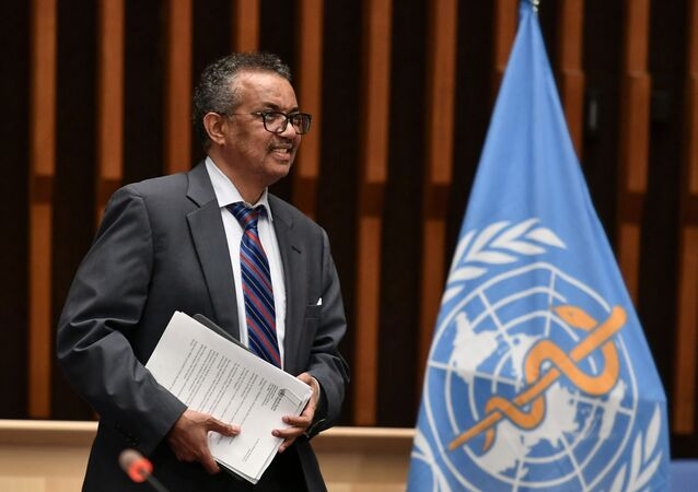 World Health Organization (WHO) Director-General Tedros Adhanom Ghebreyesus arrives at a news conference organized by Geneva Association of United Nations Correspondents (ACANU) amid the COVID-19 outbreak, caused by the novel coronavirus, at the WHO headquarters in Geneva Switzerland July 3, 2020.