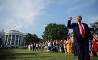 U.S. President Donald Trump thrusts his fist as he arrives on the White House South Lawn to host a 4th of July 2020 Salute to America to celebrate the U.S. Independence Day holiday at the White House in Washington, U.S., July 4, 2020