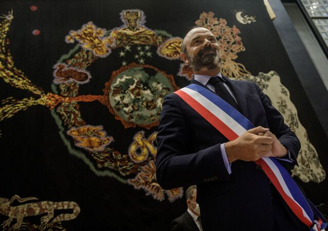 French former Prime Minister Edouard Philippe smiles after he was officially elected as Le Havre mayor on July 5, 2020 in Le Havre town hall during the first city council since last week's second round of the mayoral elections in France.