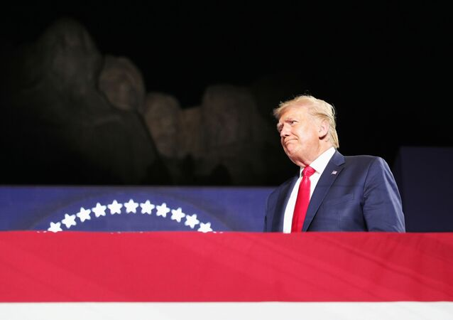 U.S. President Donald Trump attends South Dakota's U.S. Independence Day Mount Rushmore fireworks celebrations at Mt. Rushmore in Keystone, South Dakota, U.S., July 3, 2020