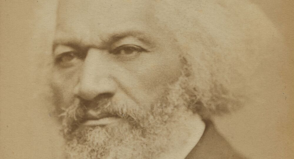 Formerly enslaved abolitionist Frederick Douglass is seen in this image taken in Boston in 1876