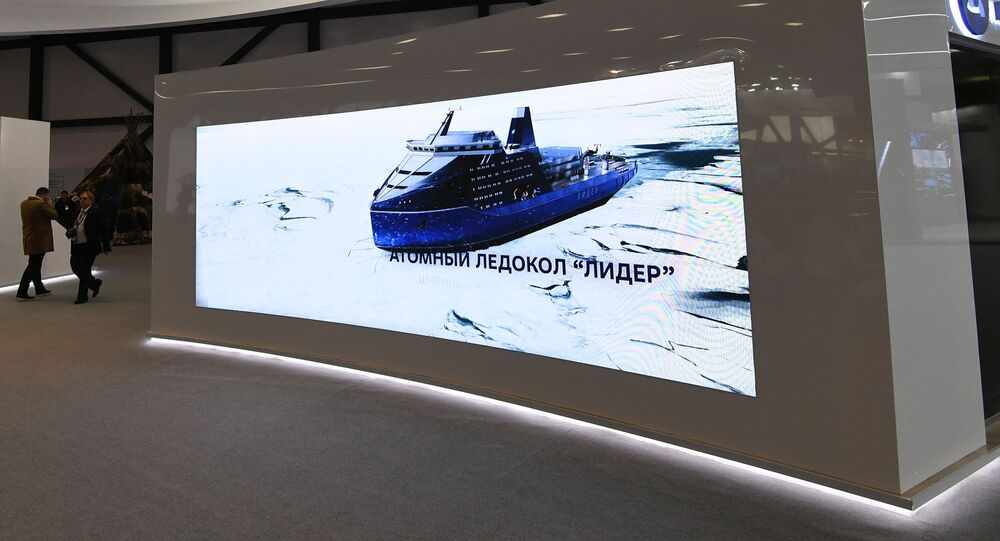 Leader-class of icebreakers featured at Rosatom's booth at the Arctic: Territory of Dialogue international Arctic forum in St. Petersburg. File photo.