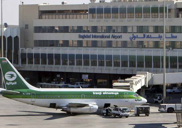 In this Dec. 28, 2005 file photo, an Iraqi Airways plane sits on the tarmac at Baghdad International Airport. European and Dubai-based airlines have begun rerouting flights over Iraqi airspace as a security precaution, though Iraq says its skies are safe