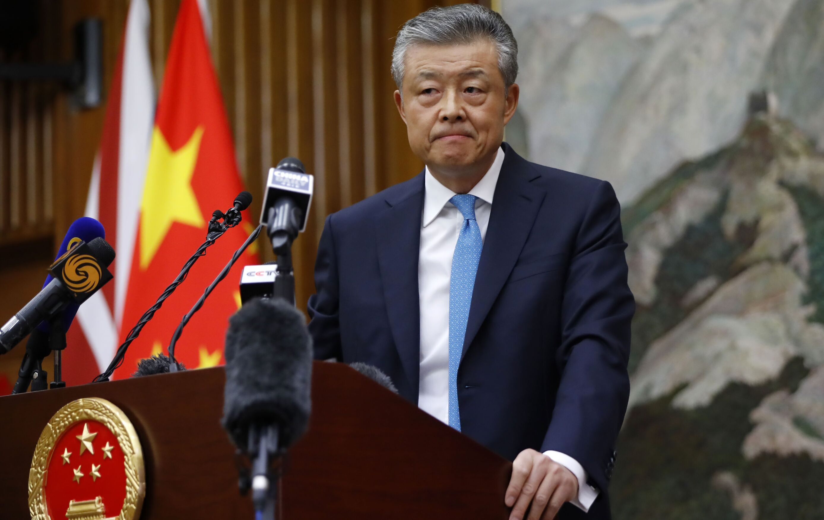 China's ambassador to Britain Liu Xiaoming takes questions from members of the media at the Chinese Embassy in London on February 6, 2020