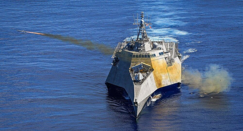 USS Gabrielle Giffords (LCS-10) launches a Naval Strike Missile