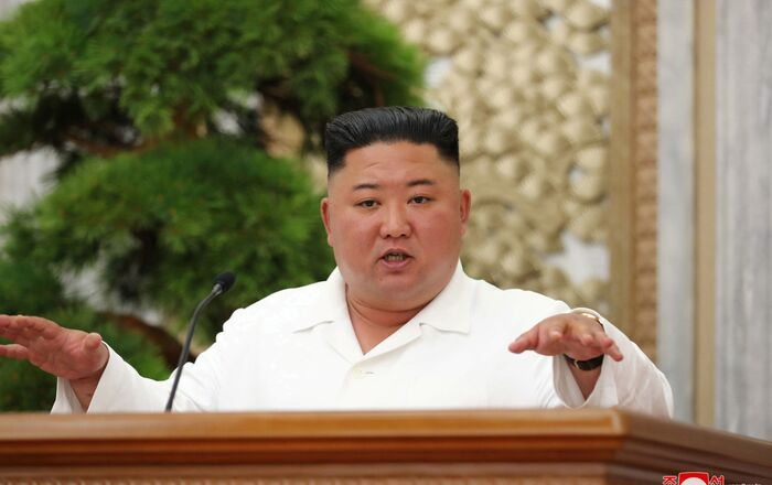 North Korean leader Kim Jong Un guides the 14th enlarged meeting of Political Bureau of 7th Central Committee of WPK in this undated photo released on July 2, 2020 by North Korean Central News Agency (KCNA) in Pyongyang.