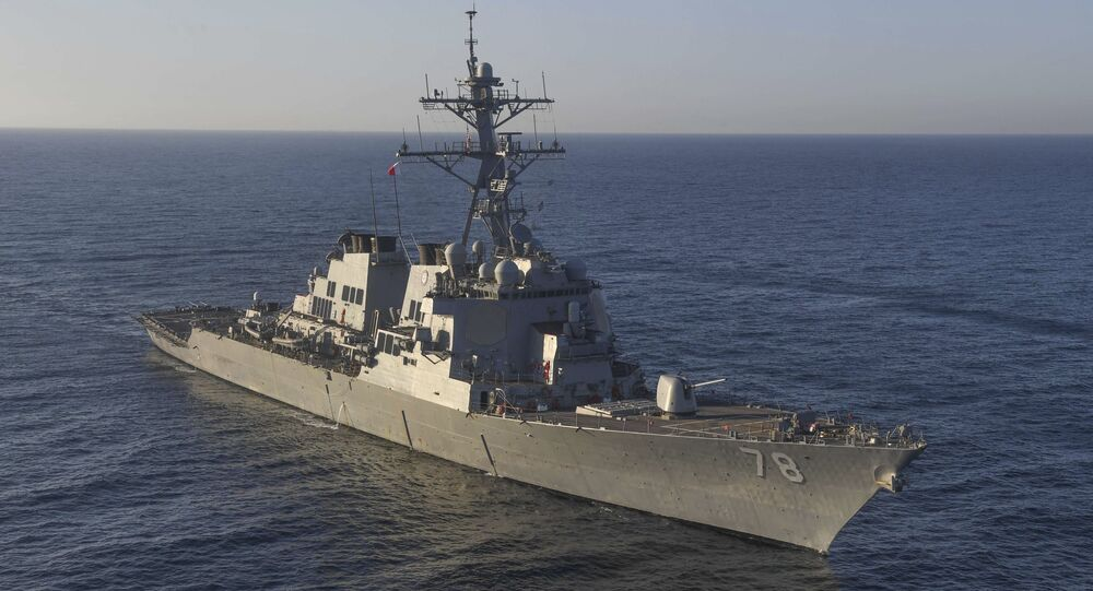 In this image provided by the U.S. Navy, the guided-missile destroyer USS Porter (DDG 78) transits the Mediterranean Sea on March 9, 2017