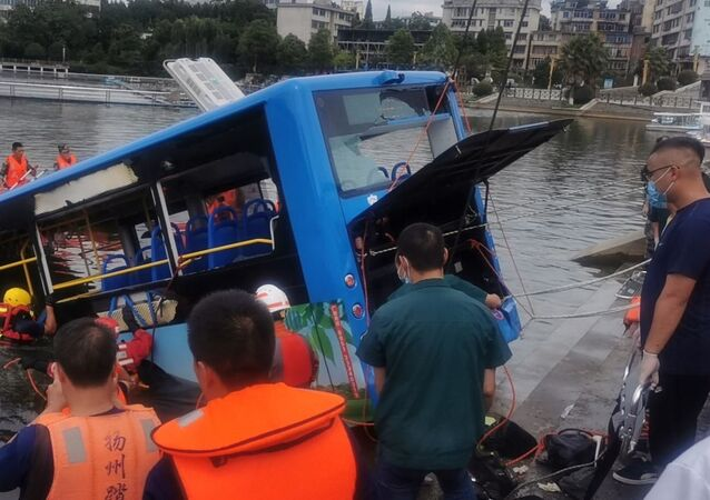 A bus fell into a lake at the Hongshan reservoir in the city of Anshun in southwest China's Guizhou Province