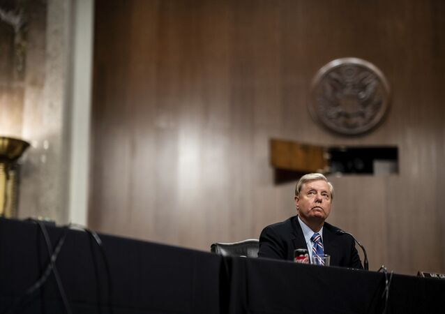 Chairman Lindsey Graham, R-S.C., listens during a Senate Judiciary Committee business meeting to consider authorization for subpoenas relating to the Crossfire Hurricane investigation, and other matters on Capitol Hill in Washington, Thursday, June 11, 2020