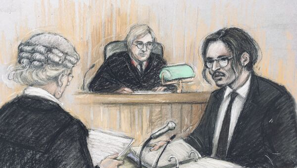 Johnny Depp answering questions from Sasha Wass QC at the High Court in London - Sputnik International