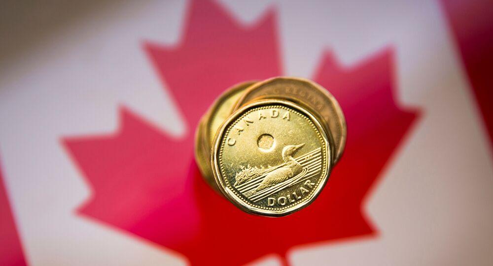 A Canadian dollar coin