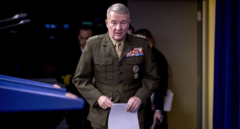 U.S. Central Command Commander Marine Gen. Kenneth McKenzie arrives to speak, Wednesday, Oct. 30, 2019, at a joint press briefing at the Pentagon on the Abu Bakr al-Baghdadi raid, in Washington.
