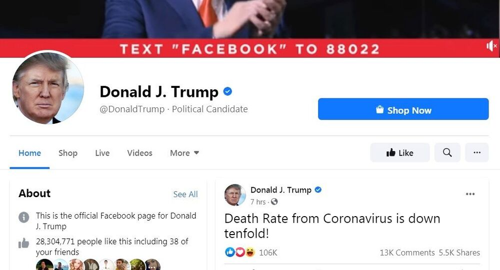 Official Facebook page of the US president Donald Trump