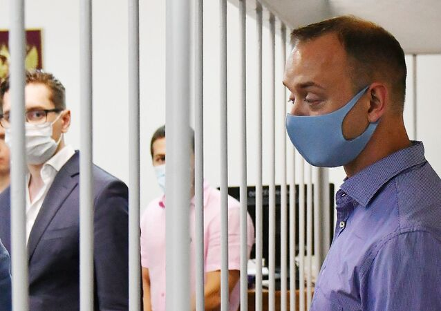 Ivan Safronov, adviser to Roscomos chief, in a Moscow court on 7 July, 2020