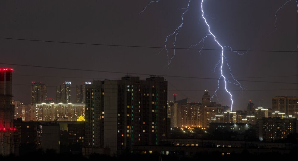 A summer thunderstorm is seen in sky over Moscow, Russia