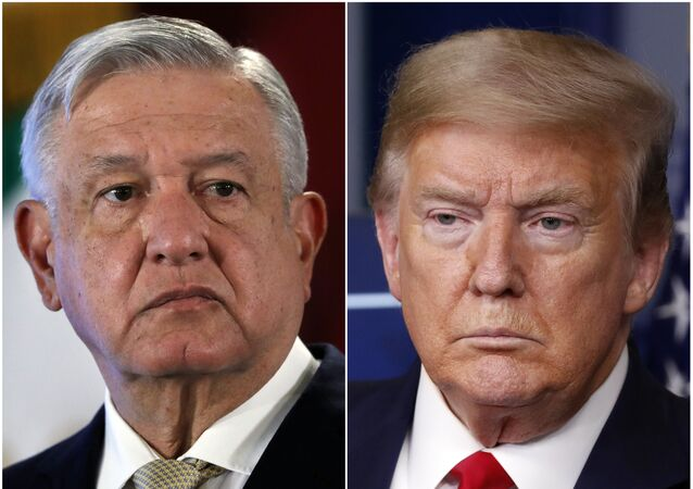 This combination of file photos shows Mexican President Andres Manuel Lopez Obrador, left, on Nov. 29, 2019, in Mexico City and President Donald Trump on April 17, 2020, in Washington.