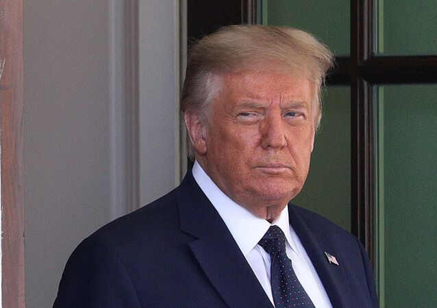 U.S. President Donald Trump awaits the arrival of Mexico's President Andres Manuel Lopez Obrador at the White House in Washington, U.S., July 8, 2020.