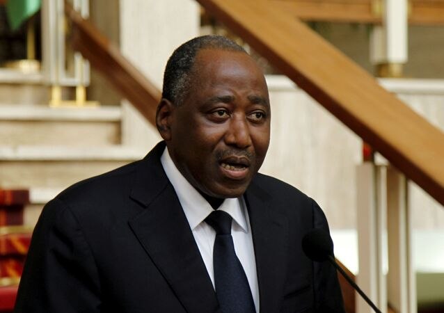 Ivory Coast secretary general of the presidence Amadou Gon Coulibaly reads a declaration at the presidential palace in Abidjan, January 6, 2016