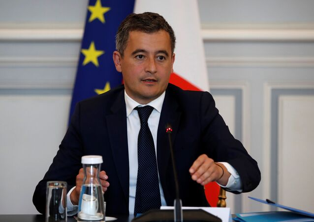French Interior Minister Gerald Darmanin attends a meeting with representatives of the French National Police and French Gendarmerie, at the Interior Ministry at Place Beauvau in Paris, France,  July 8, 2020