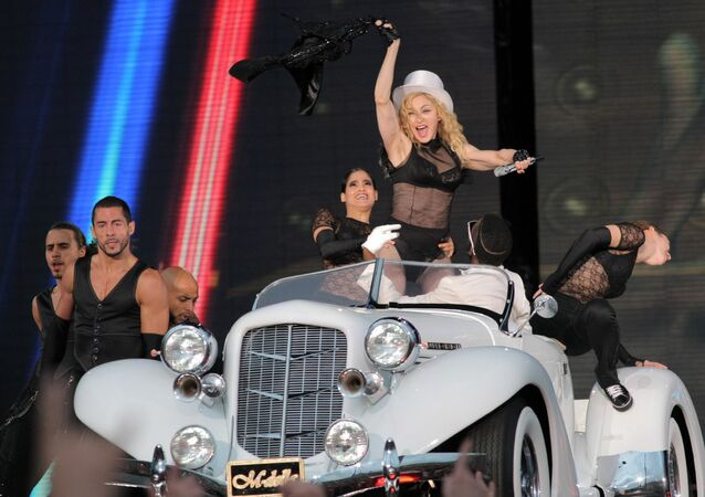 Madonna at concert on Palace Square, St Petersburg