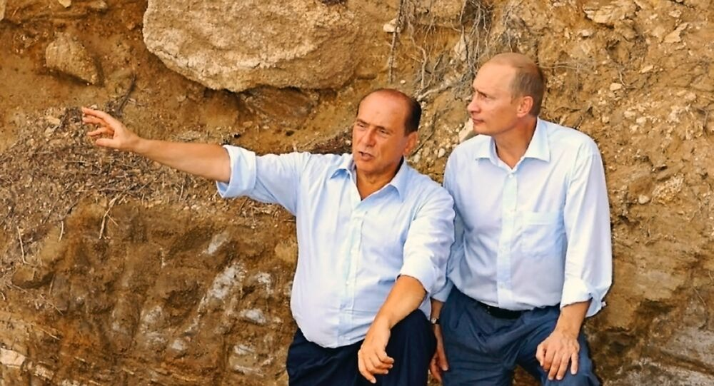 Vladimir Putin and Silvio Berlusconi in Sardinia