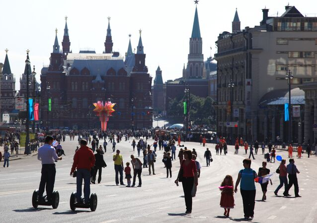 Moscow residents attend City Day celebrations on Tverskaya Street