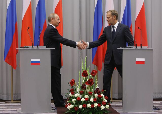 Vladimir Putin and Donald Tusk during Putin's visit to Poland in 2009