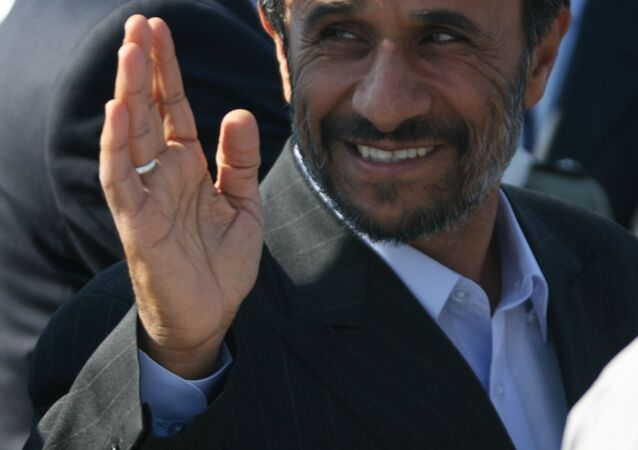 Iran's President Mahmoud Ahmadinejad being greeted at Koltsovo Airport. He arrived in Yekaterinburg to attend a summit of the Shanghai Cooperation Organization (SCO)