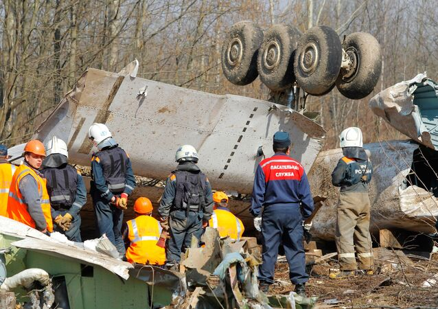 Search efforts at the crash site of the Polish presidential plane in Smolensk woods, April 2010