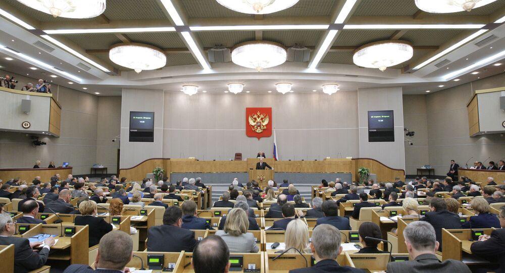 Vladimir Putin affresses State Duma MPs