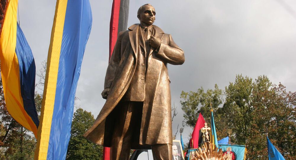 Unveiling a monument to Stepan Bandera