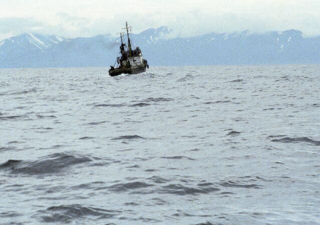 Fishing vessel near the Kamchatka shores