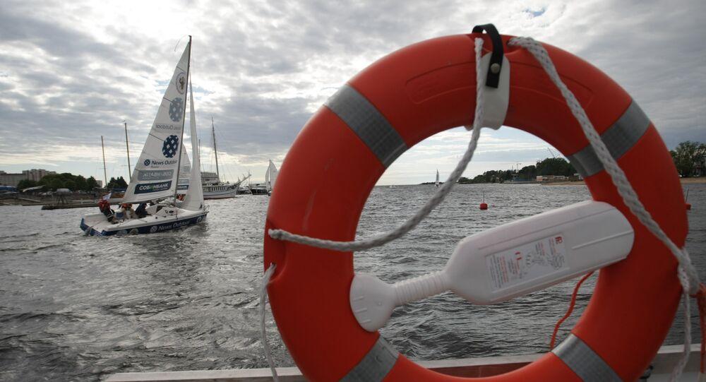 Ring buoy on a ship