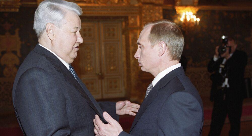 Putin and Yeltsin before the inauguration ceremony