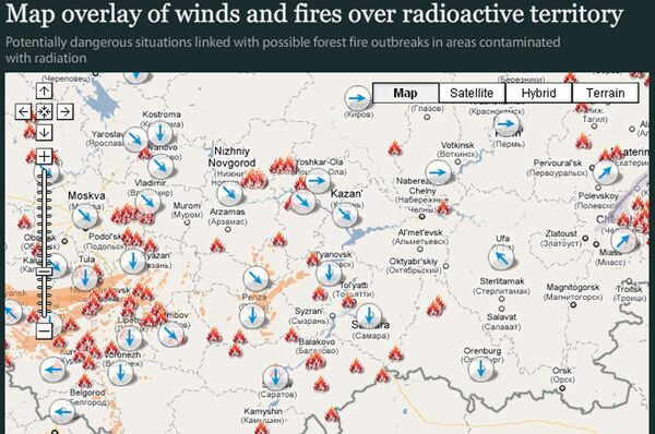 Map overlay of winds and fires over radioactive territory - Sputnik International