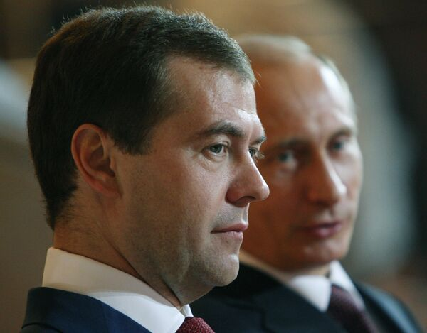Russian President Dmitry Medvedev and Prime Minister Vladimir Putin - Sputnik International