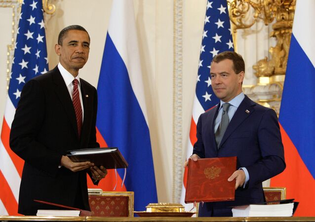 The signing of the New START treaty in Prague, the Czech Republic by President Dmitry Medvedev and President Barack Obama on April 8, 2010.