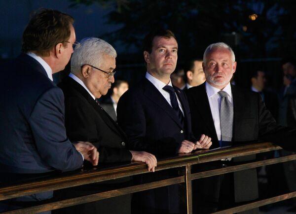 Dmitry Medvedev with Palestinian leader Mahmoud Abbas in Jericho - Sputnik International