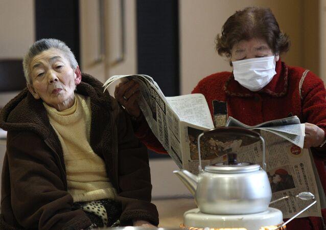 Лагерь для пострадавших в Японии
