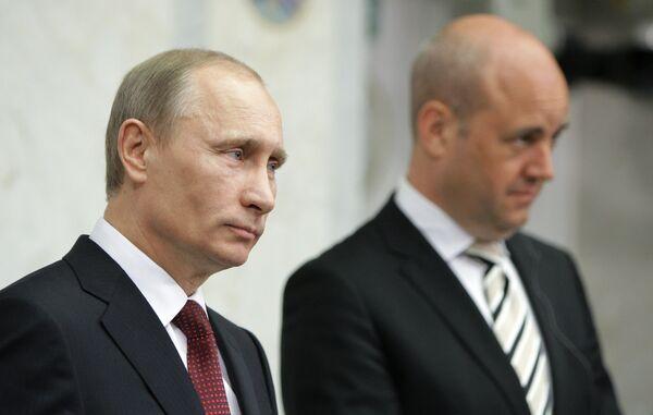 Vladimir Putin at the meeting with Fredrik Reinfeldt in Stockholm - Sputnik International