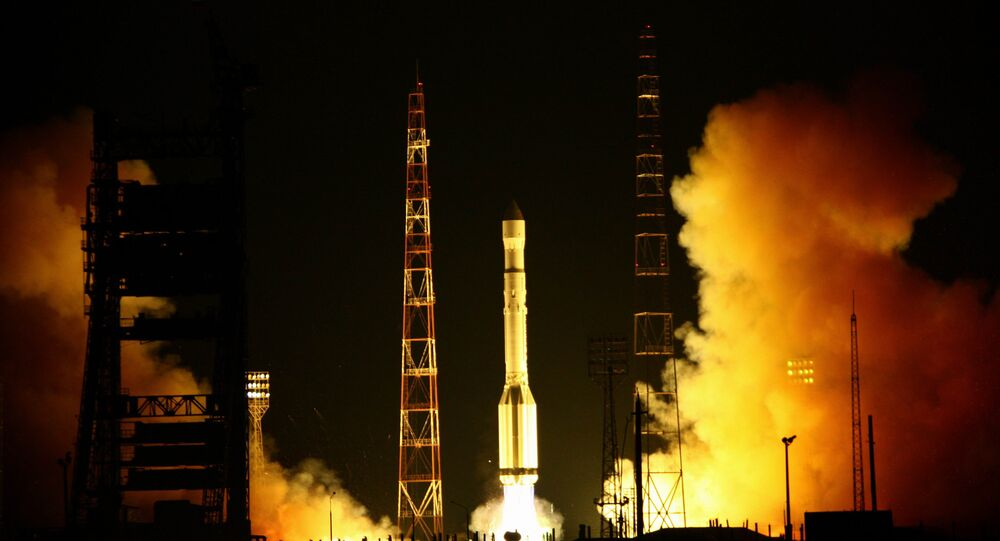 Launch of carrier rocket Proton-M.