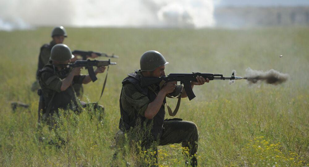 Caspian Flotilla marine corps battalion drill