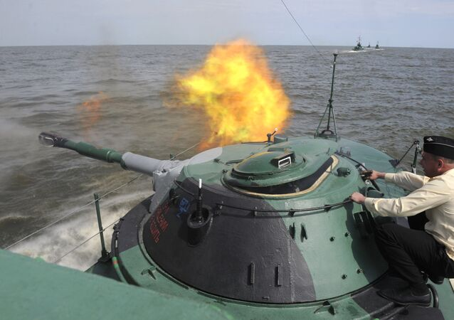 Exercise of Marine Corps battalion of Caspian Fleet