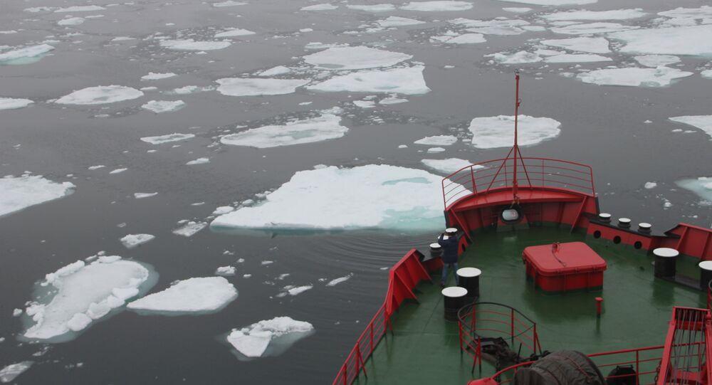 Icebreaker Yamal in the Shokalsky Strait