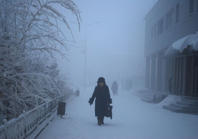 A winter day in the city of Yakutsk, Russia
