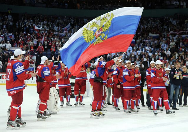 Russian hockey team celebrate after victory over Slovakia at the world hockey championships