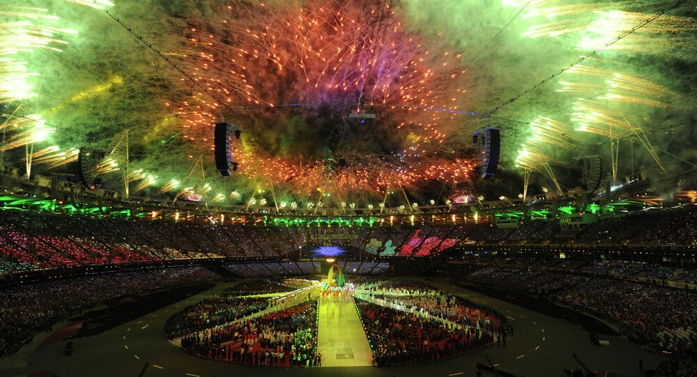 Final fireworks lighten the Olympic stadium during the closing ceremony of the 2012 London Olympic Games on August 12, 2012