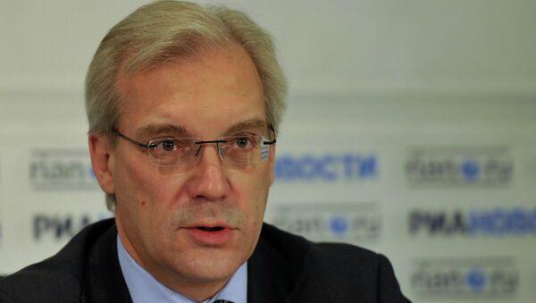 Russia's envoy to NATO, Alexander Grushko, during press conferense at RIA Novosti. - Sputnik International